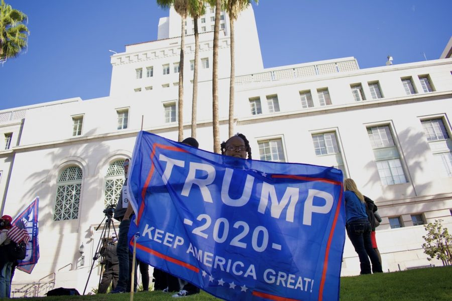 "San Jacinto Councilmember Bryan Hawkins' daughter, Noria, waves a Trump flag at the ""Stop the Steal"" rally on Jan. 6. Her father spoke to a crowd of over 100 maskless protesters at Los Angeles city hall to spread conspiracy theories about why Democrats won the election."