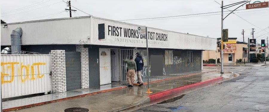 The First Works Baptist Church was bombed the morning of Jan. 23, after continuous hate speech from Paster Bruce Mejia. The FBI is still looking for the attackers. Photo credit: FBI Los Angeles