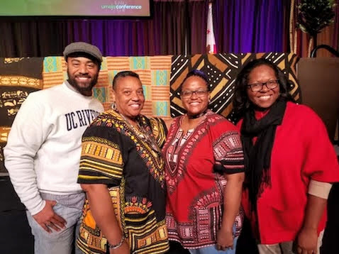 (From left to right) Prof. Damon Cagnolatti, Dr. Shelia Hill, Dr. Chelena Fisher, Ms. Clara Ross-Jones at the 2018 California Umoja Conference.  They continue to lead the program at Cerritos College.