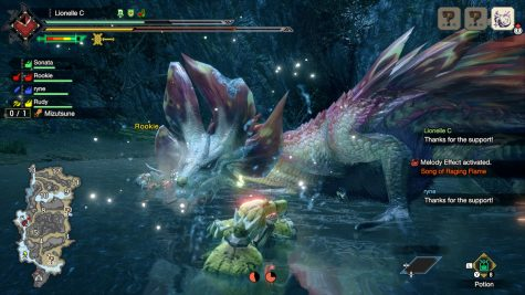 In the middle of a battle between a group of Hunters vs the water Leviathan Mizutsune. Its water beam and bubbles can do a lot of damage, so being so close may not be the best option. Photo credit: Oscar Torres