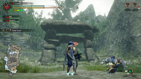 The player's character along with the environment and textures looks impressive even in handheld mode. On the left, the player can see the map, his/her health, and stamina along with the health of his/her companions.