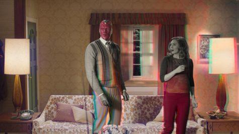 Paul Bettany is Vision and Elizabeth Olsen is Wanda Maximoff in Marvel Studios