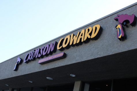 Crimson Coward sign at the Artesia location. Many people waited in line to try the chicken. February 6, 2020