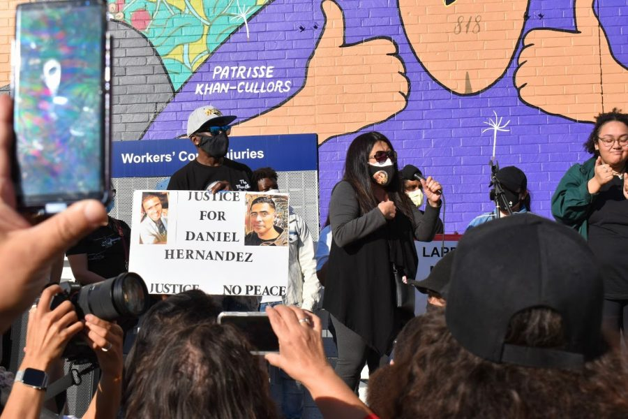 Maria Hernandez calls for justice for the murder of her brother, Daniel Hernandez, at a Black Lives Matter Rally on Feb. 24, 2021. Daniel was murdered by LAPD officer Toni McBride, daughter of San Bernadino Police Chief Eric McBride.