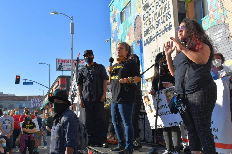 Co-founder of Black Lives Matter LA, Malina Abdula, speaks at a rally on Feb. 24, 2021. She continued to call for the defunding of the LAPD.