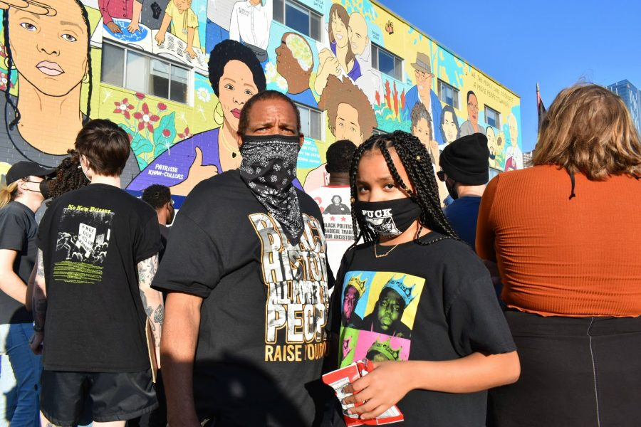 Randy Hughes brought his niece, Taylahr Mcfadden, 10, to a Black Lives Matter rally on Feb. 24, 2021. They also participated in the protest outside LA Mayor Eric Garcettis house.