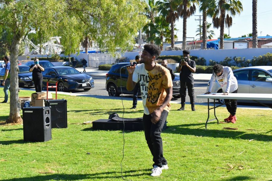 Sugi Dakks delivered a speech and performed a rap during the Black History Month celebration in Long Beach on Feb. 20, 2021. He spoke about the Black lives that were taken by law enforcement in 2020.