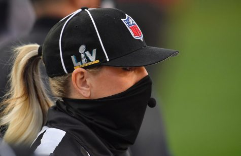 Sarah Thomas, the first woman to be part of a Super Bowl officiating crew was on the field before Super Bowl LV at Raymond James Stadium in Tampa, Florida, on Sunday, Feb. 7, 2021.
