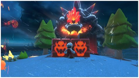 Depending on the blocks Bowser can actually break them with his Fire Breath. this would amount to getting a Cat Shine so that he can leave the world earlier than he should.