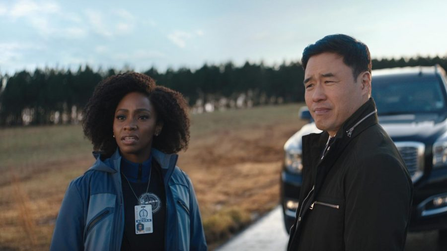 (L-R) Teyonah Parris as Monica Rambeau and Randall Park as Jimmy Woo in Marvel Studios' WANDAVISION, exclusively on Disney+. Photo credit: Marvel Studios & Walt Disney Company