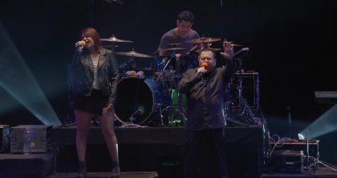 Taken on February 2, 2019 at the Cerritos Burnight Theatre, the band is seen here performing a song off their second album, Singularity. Pictured (left to right): Emili Romano, Mikey Enriquez, and Professor Maz.