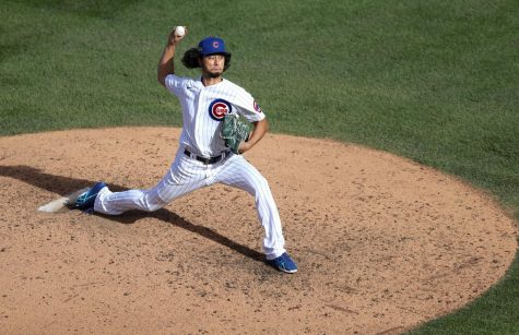 Chicago Cubs starting pitcher Yu Darvish works against the Miami Marlins in the seventh inning of Game 2 of the National League Wild Card series at Wrigley Field in Chicago on Friday, Oct. 2, 2020. Photo credit: Chris Sweda/Chicago Tribune/TNS