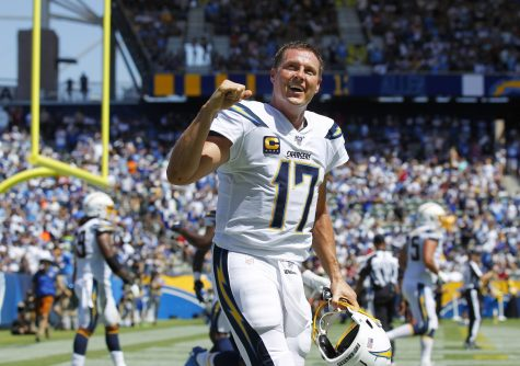 Los Angeles Chargers Philip Rivers after he threw a touchdown pass to Keenan Allen against the Indianapolis Colts in the 2nd quarter in Carson on Sept. 8, 2019. Photo credit: K.C. Alfred/TNS