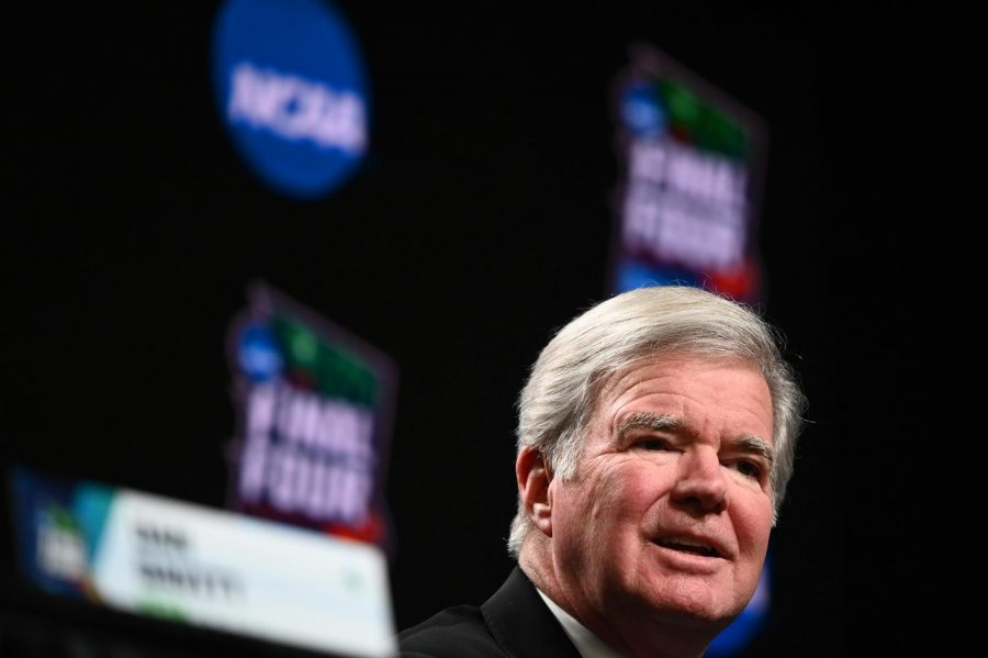 NCAA President Mark Emmert talks during a news conference before the men's basketball NCAA Tournament Final Four on April 4, 2019, at U.S. Bank Stadium in Minneapolis. Photo credit: Aaron Lavinsky/Minneapolis Star Tribune/Zuma Press/TNS