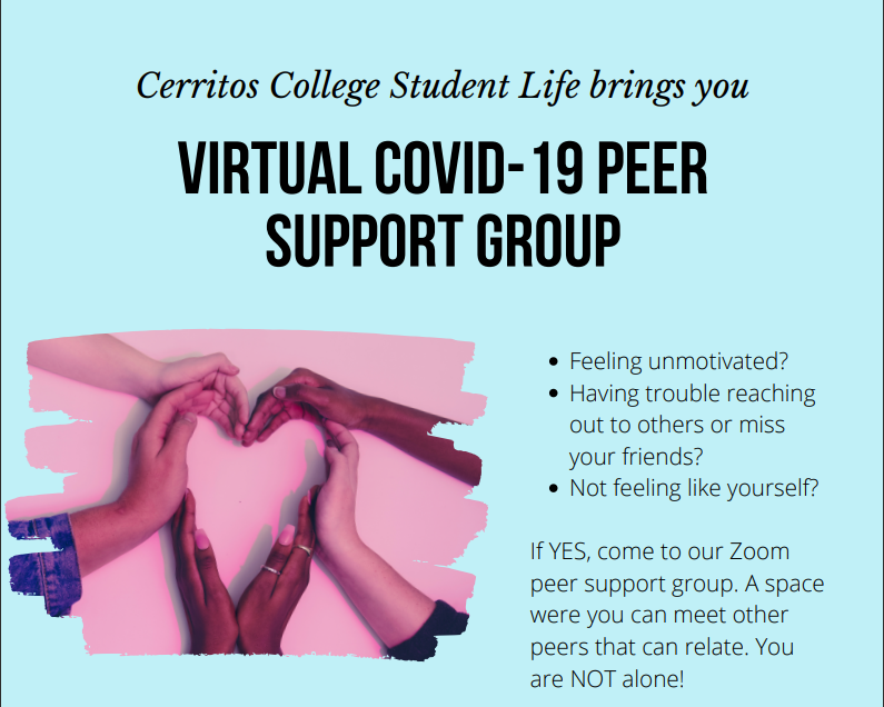 Cerritos College Virtual Covid-19 Peer Support Group flyer. They meet every other Tuesday of the month at 5 pm.