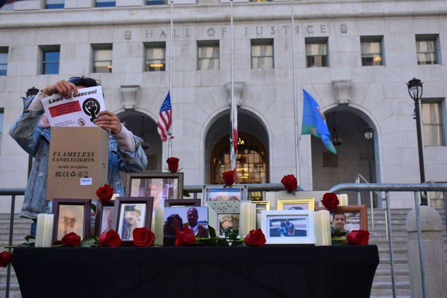 Mothers hold a vigil for their children who were victims of Police brutality during Womens Day on March 8, 2021. The protest began at the LA Hall of Justice and ended Ronald Regan State Building, where LAPD engaged in a standoff with protesters.
