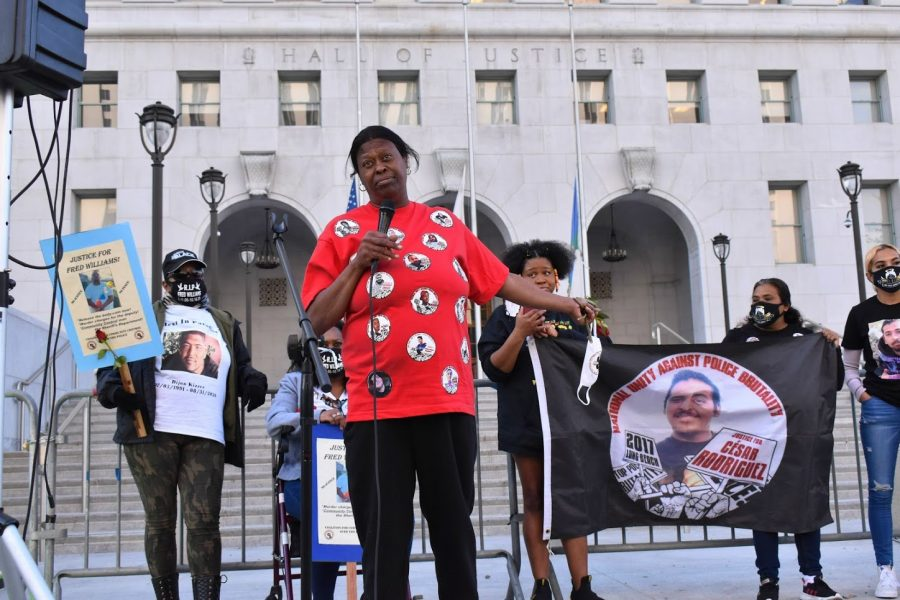 Lisa Simpson speaks about losing her son, Richard Risher, in front of the LA Hall of Justice during a Womens Day protest on  March 8, 2021. Risher died after being shot by police in late 2020.