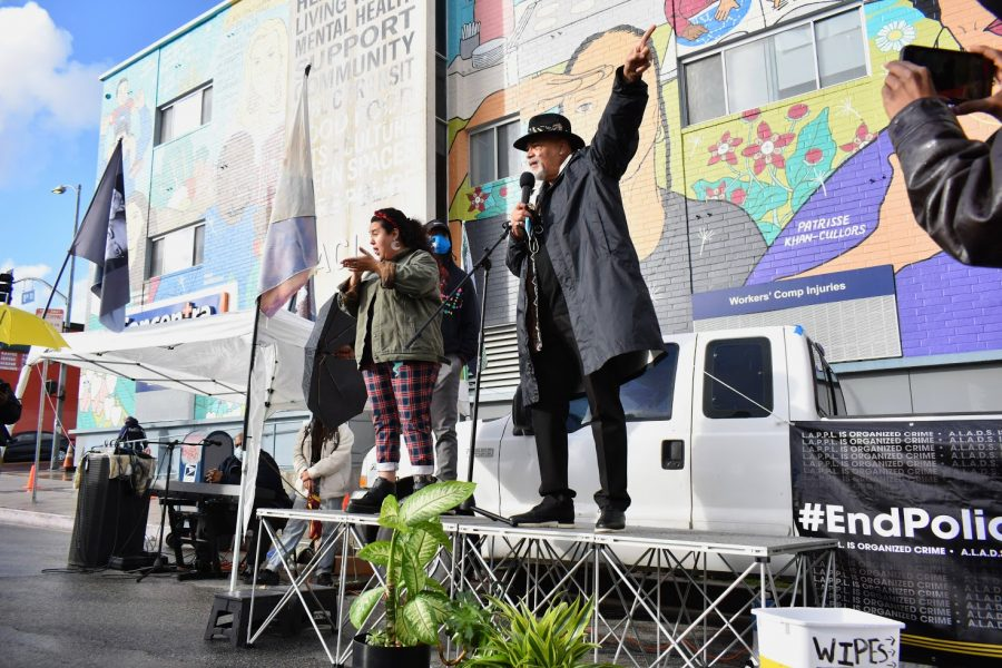 Baba Akili, director of the Fannie Lou Hamer Institute, speaks at a BLM protest on March 8, 2021. He believes that the LAPD is hiding how much money they receive from the city.