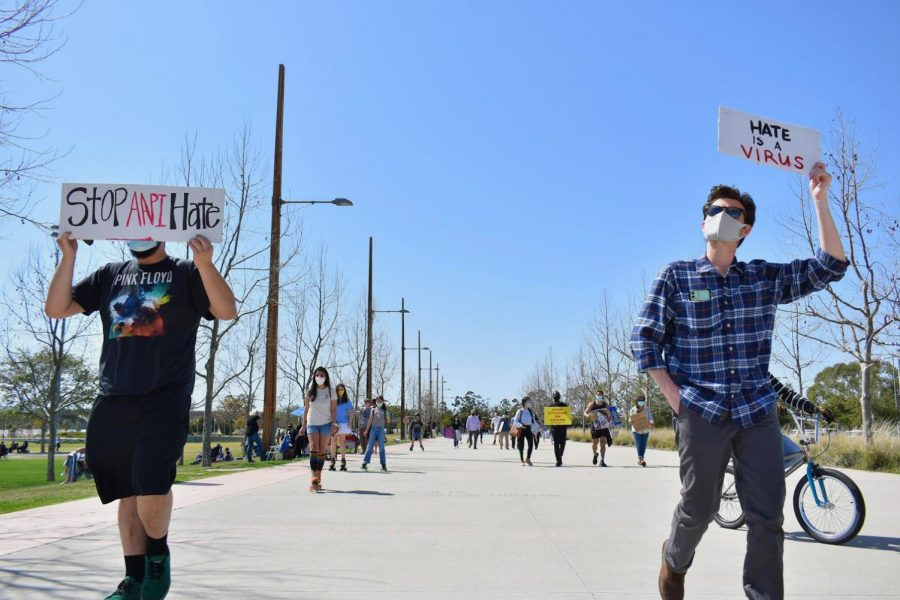 During a protest in OC Great Park on March 20, 2021, supporters skated against recent Asian-hate crimes. Some demonstrators choose to walk behind the skaters.
