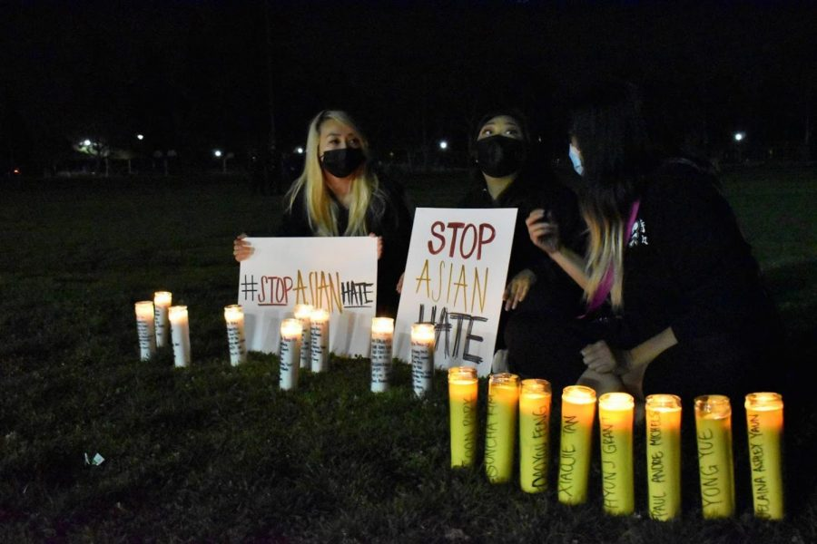 Young women attend the vigil for the victims of the Asian-targeted shooting in Atlanta, GA. The vigil is held in Alhambra on March 20, 2021.