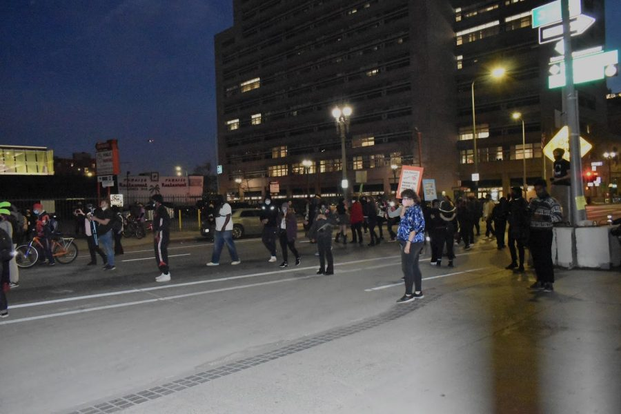 Protesters are trapped on Spring Street after LAPD blocks all exits on March 8, 2021. Demonstrators were aggravated by the police presence as they marched to the Ronald Regan State Building.
