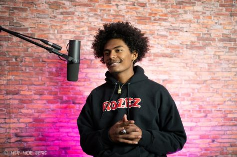 "Erik Jones also known as ""Erik Rozez"" listens to questions being asked to him on Somethingdope podcast on Mar.1, 2021. Jones is a local artist out of Cerritos, Ca who looks to create himself and inspire others. Photo credit: Courtesy of YoungTheJedi"