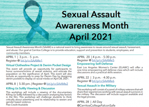 Cerritos College has a month long line-up of events planned in an effort to commemorate Sexual Assault Awareness Month.  The events are all virtual to be held through Zoom.