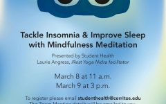 Student Health organized an insomnia event that identified causes and solutions for not being able to sleep.  There was also instructions for mediation. March 9, 2021.