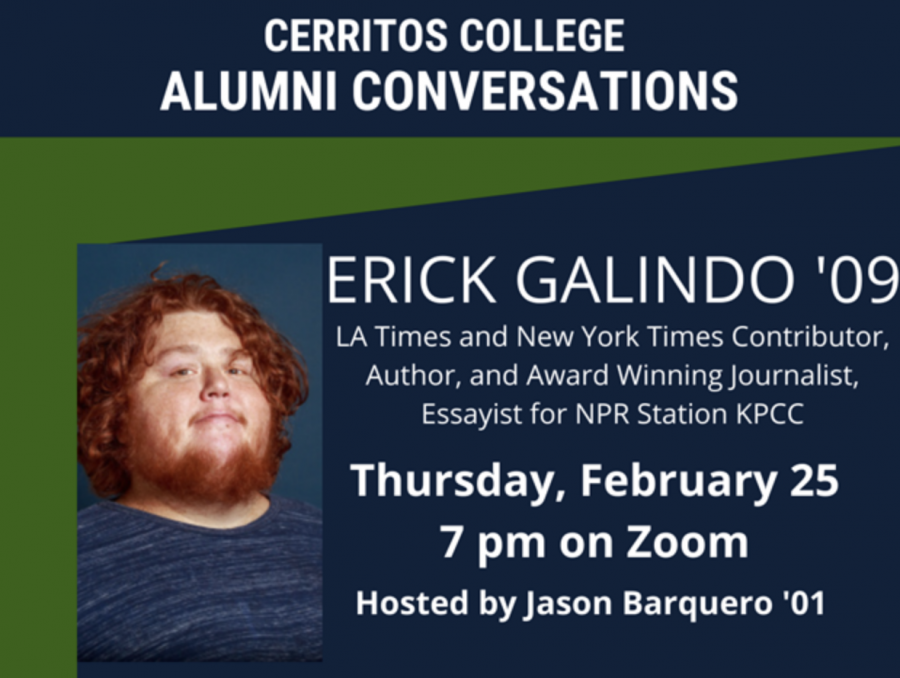 Cerritos College alumnus and award-winning journalist, Erick Galindo '09, was the latest guest on 'Alumni Conversations', a monthly virtual series which highlights the careers of former Cerritos College students. Galindo talked about his motivation for his NYT article, 'The Mexican Beverly Hills' and discussed some of the pushback he received, on Feb. 25, 2021.