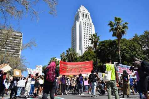 Hundreds marched against Asian-hate in Los Angeles on March 27, 2021. The march began at LA city hall. Photo credit: Vincent Medina