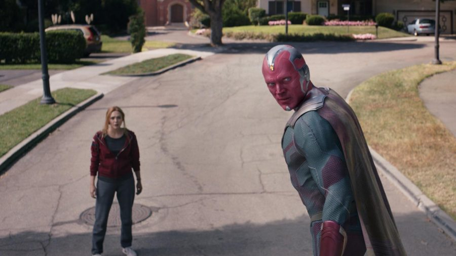 Elizabeth Olsen as Wanda Maximoff and Paul Bettany as Vision in Marvel Studios' WANDAVISION, exclusively on Disney+. Photo Courtesy of Marvel Studios. @Marvel Studios 2021. All Rights Reserved. Photo credit: Walt Disney Company & Marvel Studios