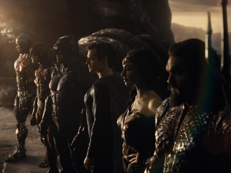 "From left, Ray Fisher, Ezra Miller, Ben Affleck, Henry Cavill, Gal Gadot and Jason Momoa in ""Zack Snyder"