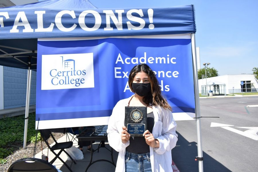 Lara Catalina Daza accepts her award for Academic Excellence on April 5, 2021. She received the award for Architecture.