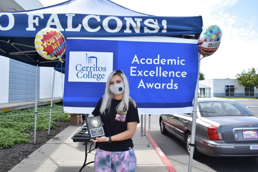 Eugenia Morales accepts her award for Academic Excellence on April 7, 2021. She received the award for Computer Science.