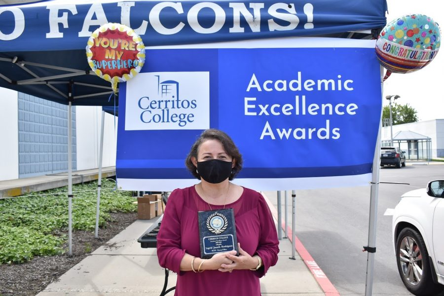Ingrid Janeth Rodriguez accepts her award for Academic Excellence on April 7, 2021. She received the award for BCOT - General Office.