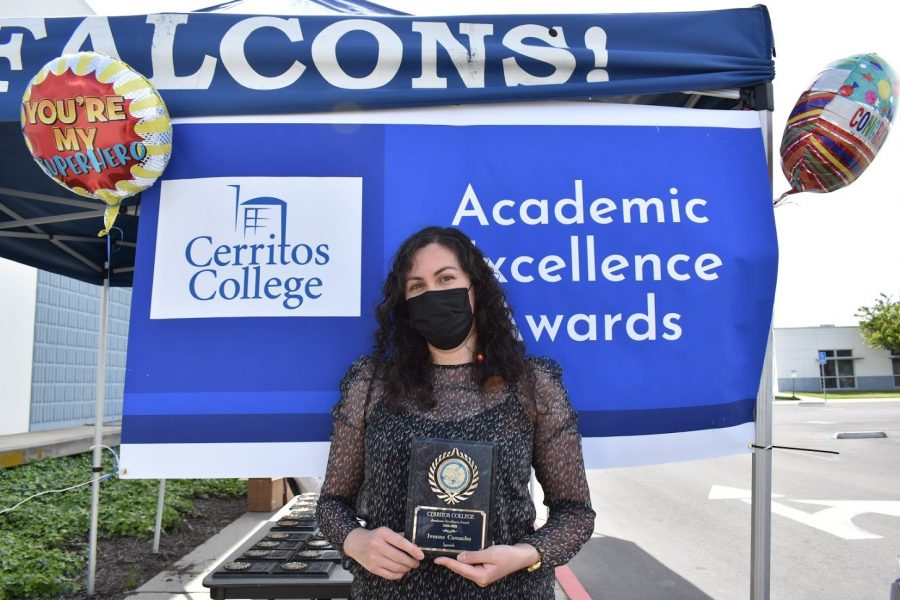 Ivone Camacho accepts her award for Academic Excellence on April 7, 2021. She received the award for Spanish.