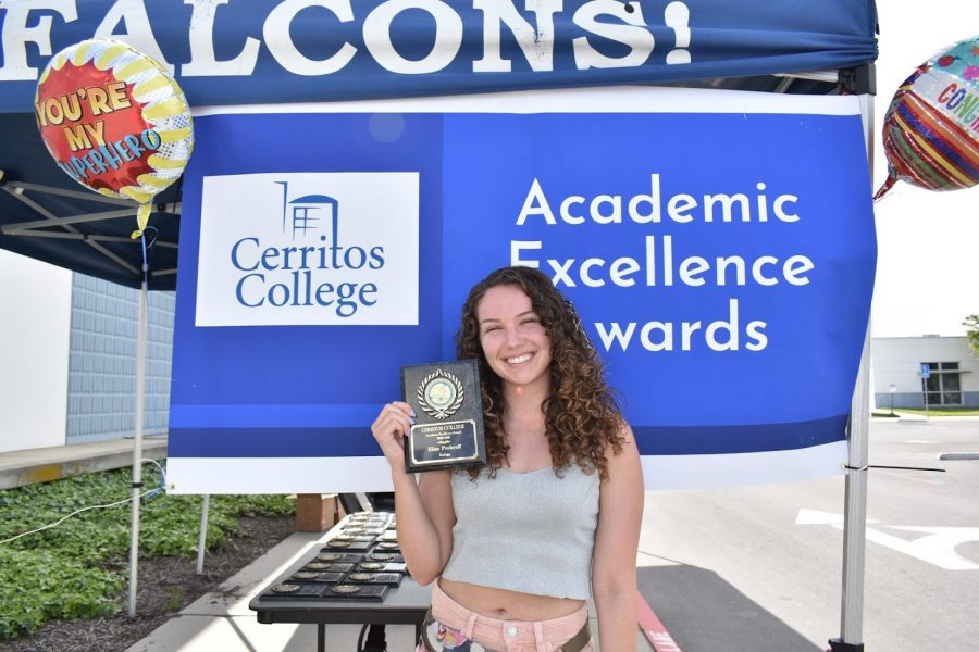 Elisa Prohroff accepts her award for Academic Excellence on April 7, 2021. She received the award for Zoology.