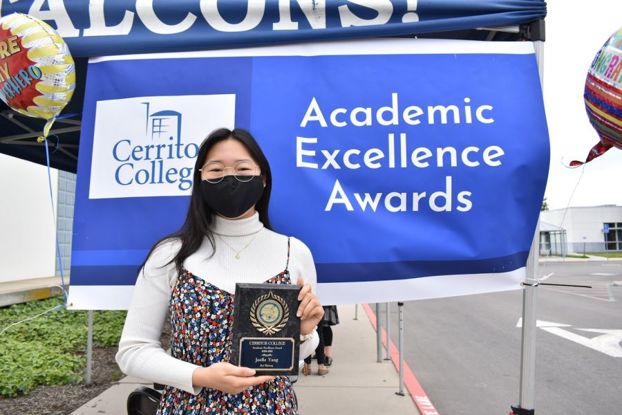 Joelle Yang accepts her award for Academic Excellence on April 7, 2021. She received the award for Art History