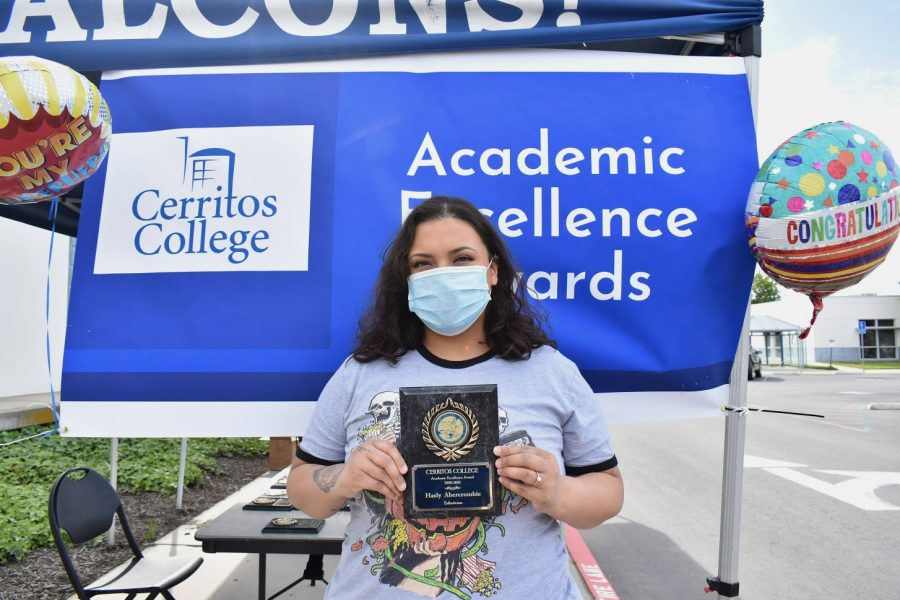 Hasly Abercrombie accepts her award for Academic Excellence on April 7, 2021. She received the award for Esthetician.