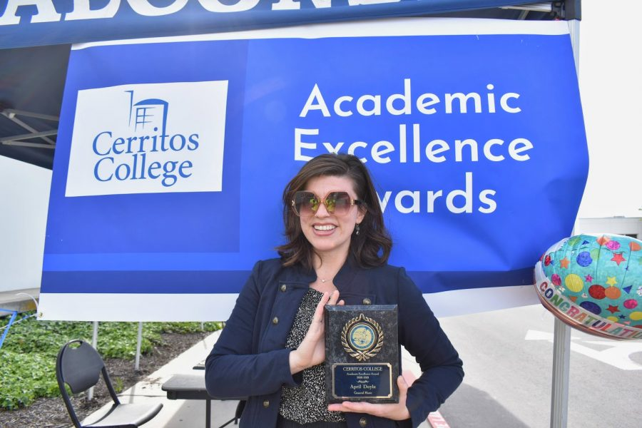 April Doyle accepts her award for Academic Excellence on April 7, 2021. She received the award for General Music.
