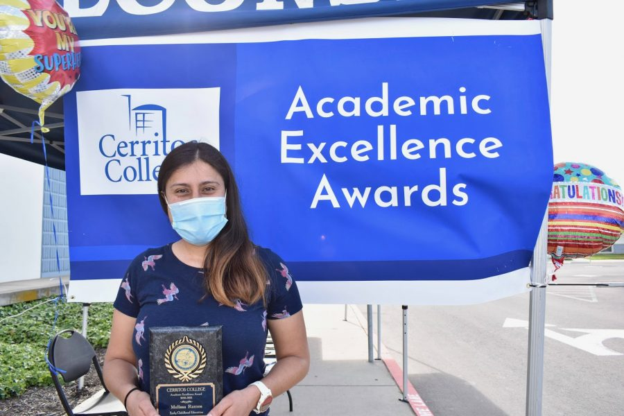 Melissa Ramos accepts her award for Academic Excellence on April 7, 2021. She received the award for Early Childhood Development.