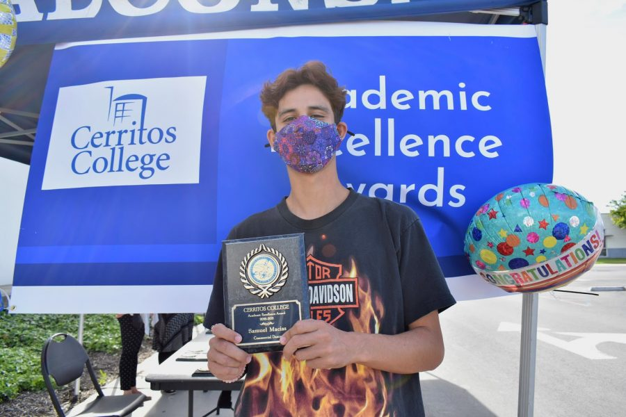 Samuel Macias accepted his award for Academic Excellence on April 7, 2021. He received the award for Commercial Music.