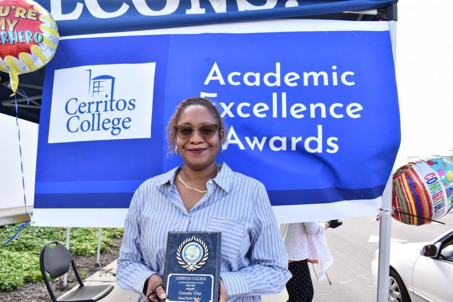 Cemelia Clay accepts her award for Academic Excellence on April 7, 2021. She received the award for Mental Health Worker.