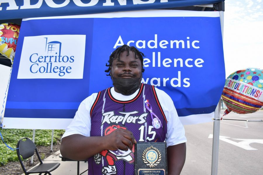 Glennton Jones accepts his award for Academic Excellence on April 7, 2021. He received the award for Automotive General Technician.