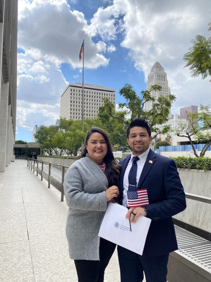 Veronica And Julio Rayo on March 17, 2021 outside of the federal building where he became a citizen.  They have been married since 2015.