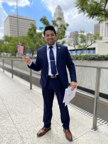 Julio Rayo downtown Los Angeles outside of the Federal building on March 17, 2021.  Julio took the oath to become a US Citizen.