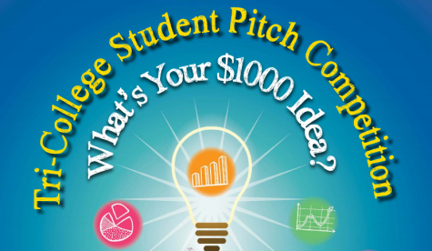 The tri-college student pitch competition flyer.  The yearly competition gives students an opportunity to practice making business pitches.