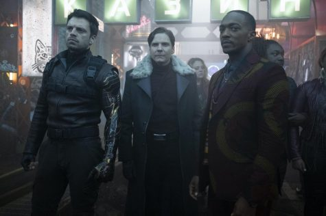(L-R): Winter Soldier/Bucky Barnes (Sebastian Stan), Zemo ( Daniel Brühl) and Falcon/Sam Wilson ( Anthony Mackie) in Marvel Studios