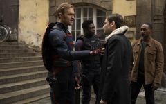 (L-R): John Walker (Wyatt Russell), Lemar Hoskins (Cle Bennett), Zemo (Daniel Bruhl) and Falcon/Sam Wilson (Anthony Mackie) in Marvel Studios' THE FALCON AND THE WINTER SOLDIER exclusively on Disney+. Photo by Julie Vrabelova. ©Marvel Studios 2021. All Rights Reserved. Photo credit: Marvel Studios, Julie Vrabelova , Kianna Znika & Walt Disney Company
