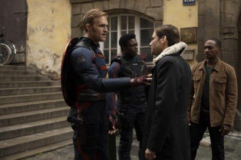 (L-R): John Walker (Wyatt Russell), Lemar Hoskins (Cle Bennett), Zemo (Daniel Bruhl) and Falcon/Sam Wilson (Anthony Mackie) in Marvel Studios